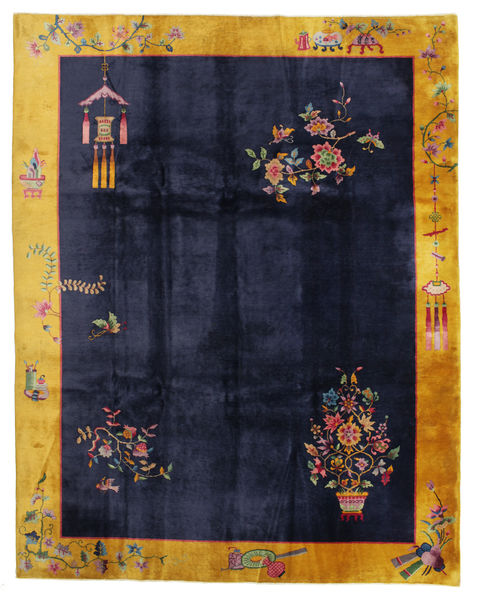 China Antigua: Art Deco 1920 Alfombra 280X355 Oriental Hecha A Mano Negro/Gris Oscuro Grande (Lana, China)