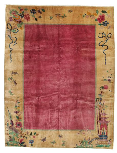 China Antigua: Art Deco 1920 Alfombra 275X360 Oriental Hecha A Mano Marrón Claro/Roja/Rojo Oscuro Grande (Lana, China)