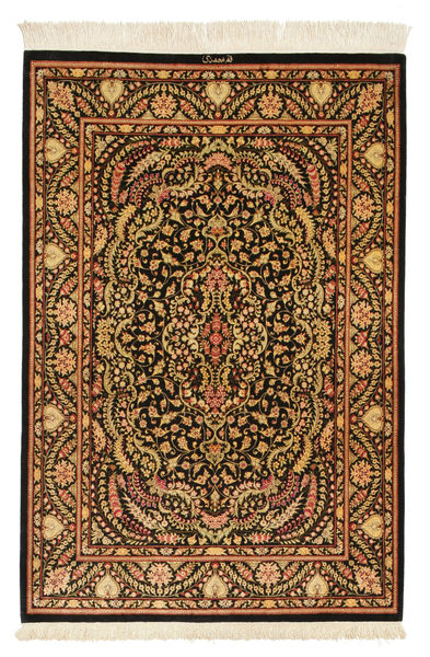 Ghom De Seda Firmada: Ghom Mohammadi Alfombra 101X150 Oriental Hecha A Mano Marrón Oscuro/Marrón (Seda, Persia/Irán)