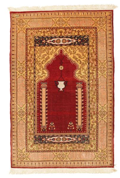 Herike Tu Alfombra 82X130 Oriental Hecha A Mano Rojo Oscuro/Marrón Claro (Seda, Turquía)