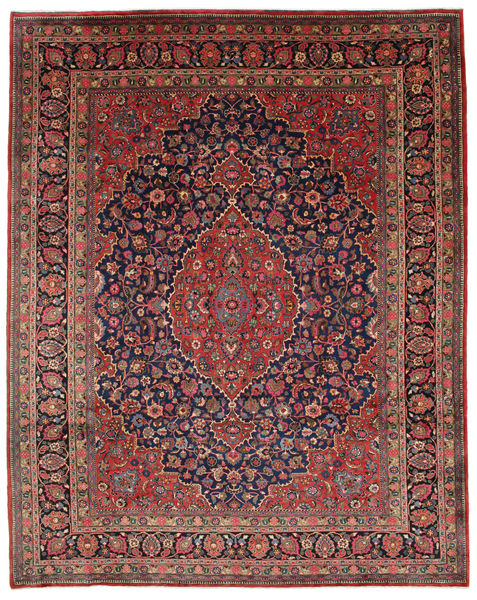 Mashad Alfombra 312X395 Oriental Hecha A Mano Rojo Oscuro/Marrón Oscuro Grande (Lana, Persia/Irán)
