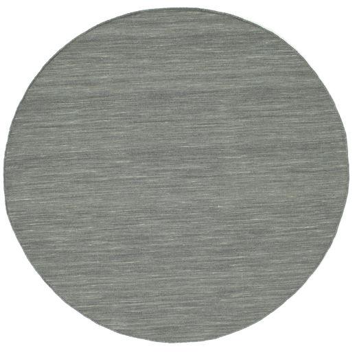 Kilim Loom - Gris Oscuro Alfombra Ø 150 Moderna Tejida A Mano Redonda Gris Claro/Verde Oscuro (Lana, India)