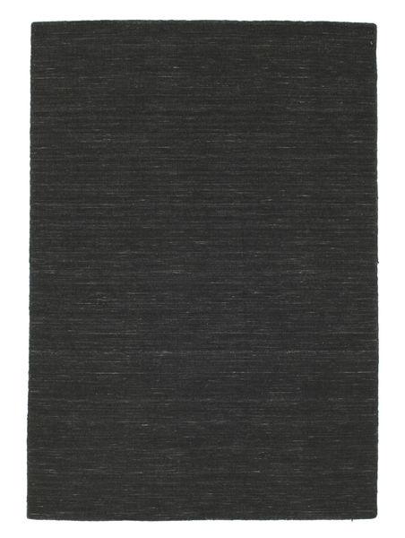 Kilim Loom - Negro Alfombra 140X200 Moderna Tejida A Mano Gris Oscuro (Lana, India)