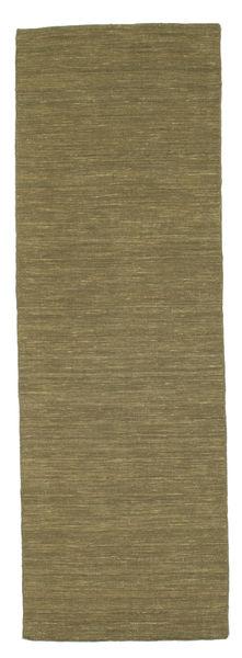 Kilim Loom - Oliva Alfombra 80X250 Moderna Tejida A Mano Verde Oliva (Lana, India)