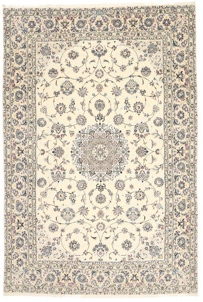 Nain 6La Habibian Alfombra 200X296 Oriental Hecha A Mano Gris Claro/Beige (Lana/Seda, Persia/Irán)