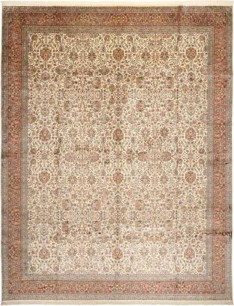 Cachemira Pura De Seda Alfombra 304X389 Oriental Hecha A Mano Marrón/Beige/Gris Claro Grande (Seda, India)
