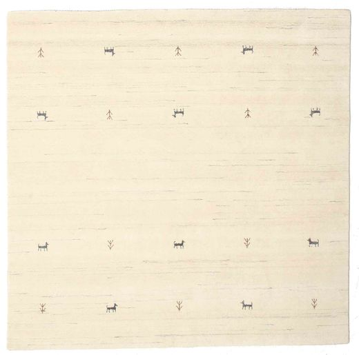 Gabbeh Loom Two Lines - Blanco Crudo Alfombra 200X200 Moderna Cuadrada Beige/Blanco/Crema (Lana, India)