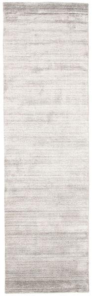 Bambú De Seda Loom - Warm Gris Alfombra 80X300 Moderna Gris Claro/Blanco/Crema ( India)
