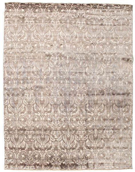 Damask Alfombra 239X307 Moderna Hecha A Mano Gris Claro/Blanco/Crema ( India)
