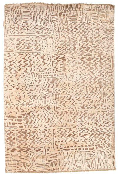 Damask Alfombra 123X185 Moderna Hecha A Mano Beige/Rosa Claro ( India)