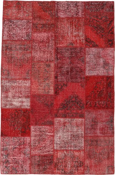 Patchwork Alfombra 196X301 Moderna Hecha A Mano Rojo Oscuro/Violeta (Lana, Turquía)