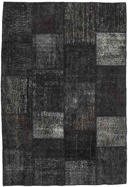 Patchwork Alfombra 158X232 Moderna Hecha A Mano Negro/Gris Oscuro (Lana, Turquía)