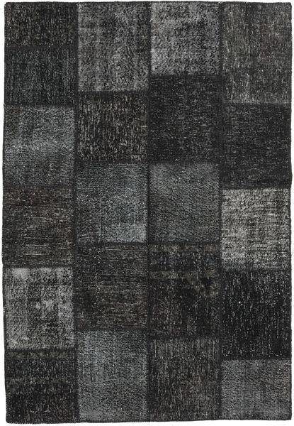 Patchwork Alfombra 159X232 Moderna Hecha A Mano Negro/Verde Oscuro (Lana, Turquía)