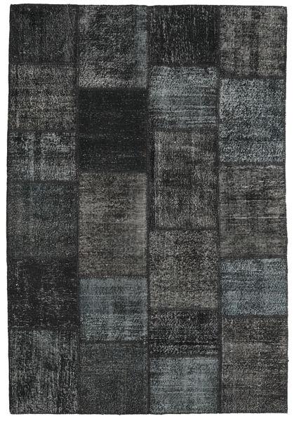 Patchwork Alfombra 158X233 Moderna Hecha A Mano Gris Oscuro/Negro (Lana, Turquía)