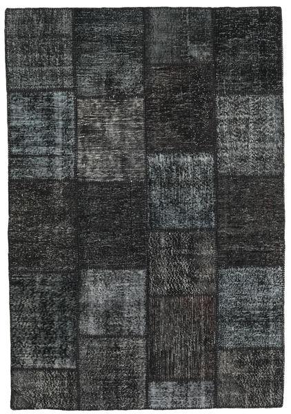Patchwork Alfombra 160X232 Moderna Hecha A Mano Negro/Verde Oscuro (Lana, Turquía)