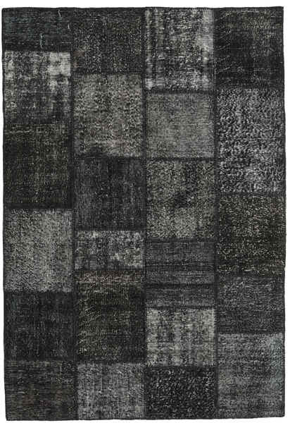Patchwork Alfombra 160X232 Moderna Hecha A Mano Negro/Gris Oscuro (Lana, Turquía)