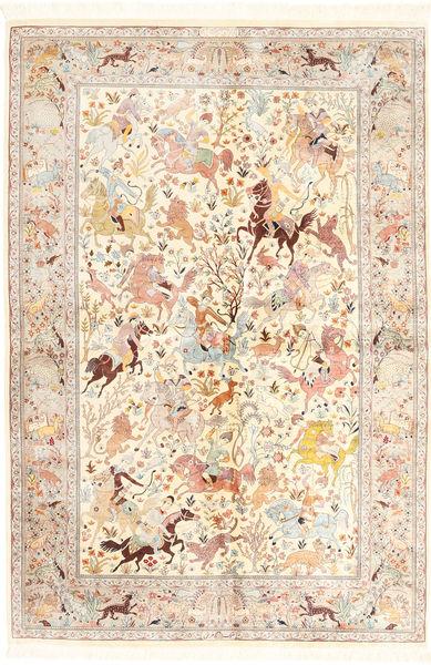 Ghom De Seda Alfombra 140X211 Oriental Hecha A Mano Beige/Rosa Claro (Seda, Persia/Irán)
