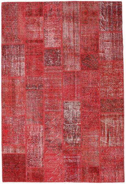 Patchwork Alfombra 204X302 Moderna Hecha A Mano Rojo Oscuro/Roja (Lana, Turquía)