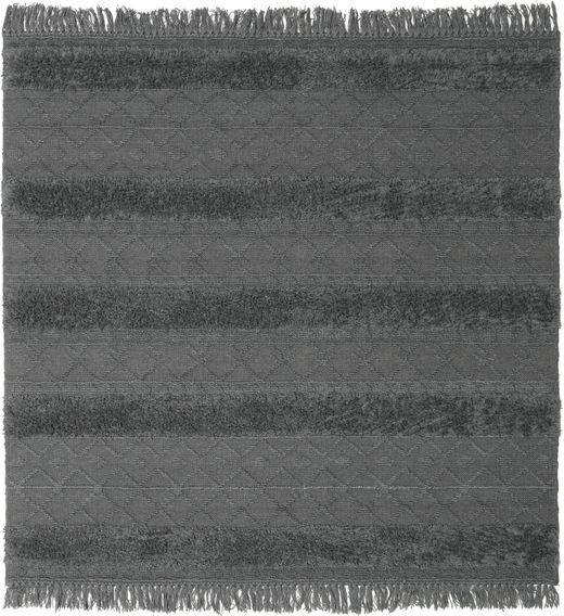 Kilim Berber Ibiza - Gris Claro Alfombra 200X200 Moderna Tejida A Mano Cuadrada Negro/Azul/Gris Oscuro (Lana, India)