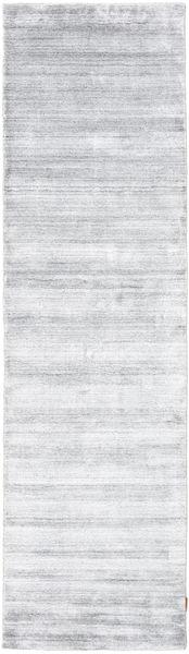 Bambú De Seda Loom - Gris Alfombra 80X300 Moderna Blanco/Crema/Beige ( India)
