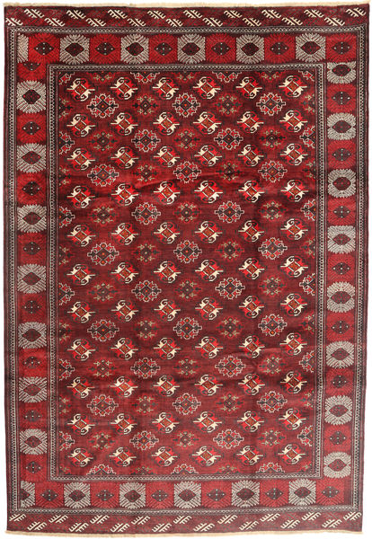 Turkaman Alfombra 235X348 Oriental Hecha A Mano Rojo Oscuro/Marrón (Lana, Persia/Irán)