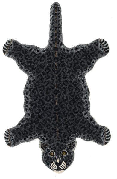Leopard - Negro Alfombra 100X160 Moderna Gris Oscuro (Lana, India)
