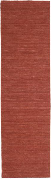 Kilim Loom - Óxido Alfombra 80X300 Moderna Tejida A Mano Rojo Oscuro (Lana, India)