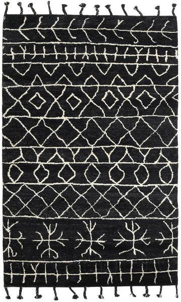 Moss Berber - Negro Alfombra 180X275 Moderna Hecha A Mano Negro (Lana, India)