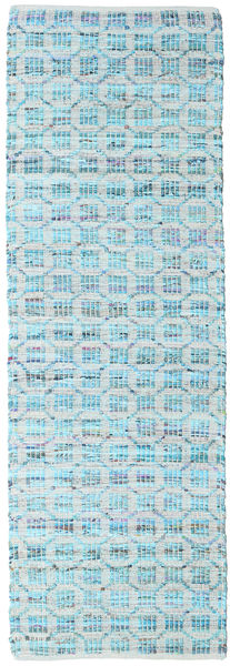 Elna - Bright_Blue Alfombra 80X250 Moderna Tejida A Mano Azul Claro/Azul Turquesa (Algodón, India)