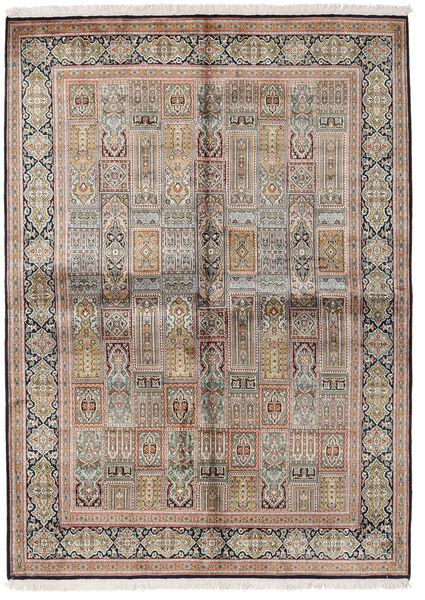 Cachemira Pura De Seda Alfombra 155X214 Oriental Hecha A Mano Gris Claro/Marrón (Seda, India)