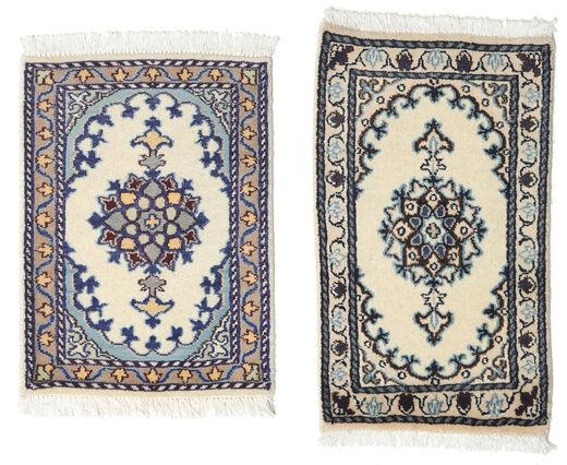 Nain Alfombra 40X60 Oriental Hecha A Mano Gris Oscuro/Gris Claro/Beige (Lana, Persia/Irán)