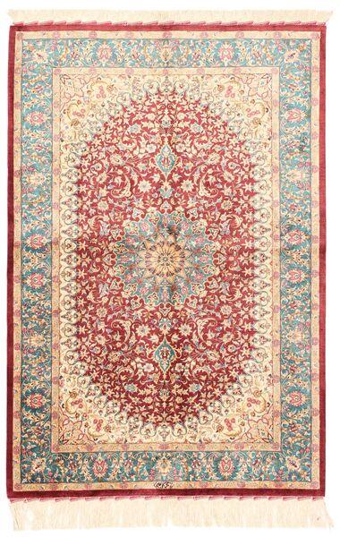 Ghom De Seda Alfombra 102X150 Oriental Tejida A Mano Beige/Rojo Oscuro (Seda, Persia/Irán)