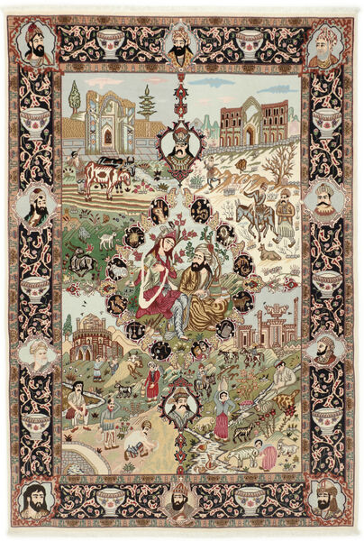 Tabriz 50 Raj Alfombra 150X219 Oriental Hecha A Mano Marrón/Marrón Claro (Lana/Seda, Persia/Irán)