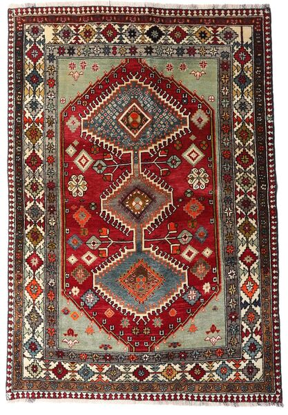 Gashgai Alfombra 136X197 Oriental Hecha A Mano Rojo Oscuro/Gris Oscuro (Lana, Persia/Irán)