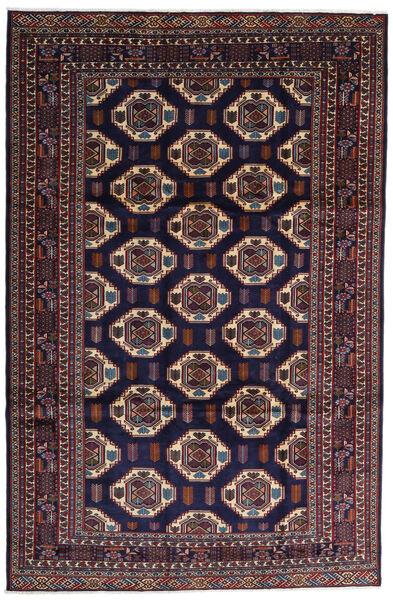 Turkaman Alfombra 247X378 Oriental Hecha A Mano Púrpura Oscuro/Marrón Oscuro (Lana, Persia/Irán)