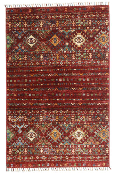 Shabargan Alfombra 84X134 Moderna Hecha A Mano Rojo Oscuro/Gris Oscuro (Lana, Afganistán)
