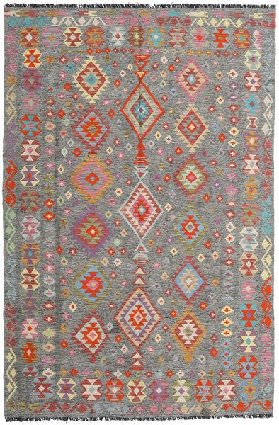 Kilim Afghan Old Style Alfombra 198X301 Oriental Tejida A Mano Gris Oscuro/Gris Claro (Lana, Afganistán)
