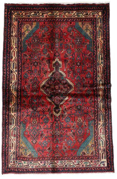 Hamadan Alfombra 137X210 Oriental Hecha A Mano Rojo Oscuro/Marrón Oscuro (Lana, Persia/Irán)