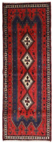Afshar Alfombra 91X255 Oriental Hecha A Mano Negro/Rojo Oscuro (Lana, Persia/Irán)