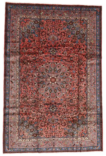 Mehraban Alfombra 196X292 Oriental Hecha A Mano Rojo Oscuro/Gris Claro (Lana, Persia/Irán)