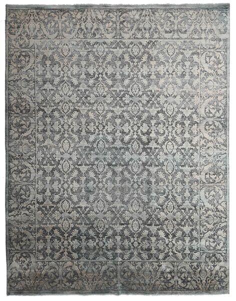 Damask Indo Alfombra 231X295 Moderna Hecha A Mano Gris Claro/Gris Oscuro (Lana/Seda De Bambú, India)