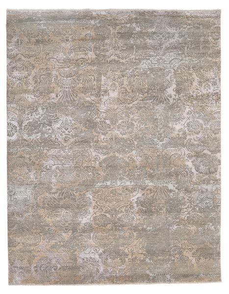 Damask Indo Alfombra 244X308 Moderna Hecha A Mano Gris Claro (Lana/Seda De Bambú, India)