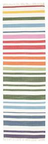 Rainbow Stripe - Blanco Alfombra 80X250 Moderna Tejida A Mano (Algodón, India)