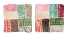 Patchwork Funda De Cojín Alfombra 50X50 Oriental Hecha A Mano Cuadrada Beige Oscuro/Rosa Claro (Lana, Turquía)