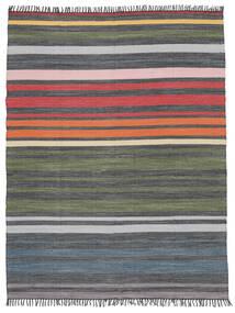 Rainbow Stripe - Gris Alfombra 250X300 Moderna Tejida A Mano Gris Oscuro/Verde Oliva Grande (Algodón, India)