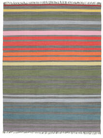 Rainbow Stripe - Gris Alfombra 200X250 Moderna Tejida A Mano Gris Claro/Verde Oliva (Algodón, India)