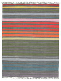 Rainbow Stripe - Gris Alfombra 140X200 Moderna Tejida A Mano Gris Oscuro/Verde Oliva (Algodón, India)