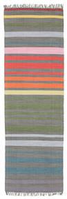 Rainbow Stripe - Gris Alfombra 80X250 Moderna Tejida A Mano (Algodón, India)