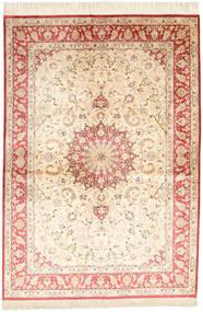 Ghom De Seda Firmada: Ahmadi Alfombra 139X198 Oriental Hecha A Mano Beige/Rosa Claro (Seda, Persia/Irán)