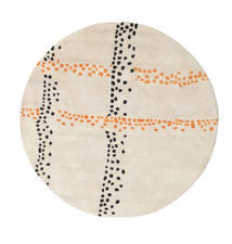Delight Handtufted - Naranja Alfombra Ø 150 Moderna Redonda Beige/Gris Claro (Lana, India)